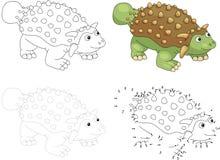 Ankylosaurus de bande dessinée Illustration de vecteur Point pour pointiller le jeu pour k Photographie stock libre de droits