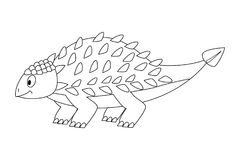 Ankylosaurus drôle sans couleur de bande dessinée Dinosaur de dessin animé Vecteur Illustration de Vecteur