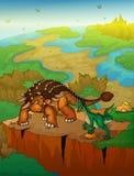Ankylosaurus en roofvogel met landschapsachtergrond Vectorillust stock illustratie