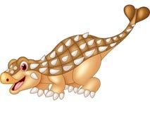 Ankylosaurus heureux de bande dessinée sur le fond blanc Image stock