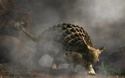 Ankylosaurus i dimma vektor illustrationer