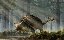 Ankylosaurus i en skog stock illustrationer
