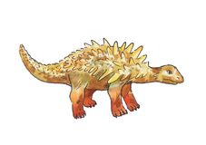 Ankylosaurus Illustration d'aquarelle de dinosaure Photos stock