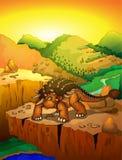 Ankylosaurus mignon de bande dessinée avec le fond de paysage Photos libres de droits