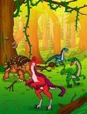 Ankylosaurus mignon et Anzu de bande dessinée sur le fond de la forêt Illustration Stock
