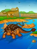 Ankylosaurus no fundo do rio Imagens de Stock