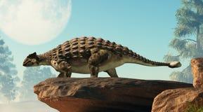 Ankylosaurus som ser fullmånen royaltyfri illustrationer