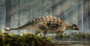 Ankylosaurus som står i en skog stock illustrationer