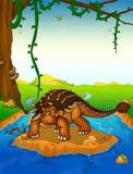 Ankylosaurus sur le fond d'une cascade illustration de vecteur