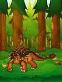 Ankylosaurus sur le fond d'une forêt illustration stock