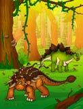 Ankylosaurus sur le fond de la forêt Illustration Libre de Droits