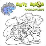 Ankylosaurus van de beeldverhaal voorhistorische dinosaurus, kleurend boek, grappige illustratie stock illustratie