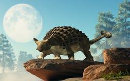 Ankylosaurusen på vaggar under månen royaltyfri illustrationer
