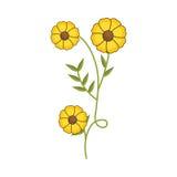 Anlage mit Verzweigung und gelben Blumen lizenzfreie abbildung