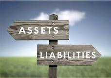 Anlagegüter gegen Verbindlichkeiten stockfotos