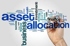 Anlagegutverteilungswort-Wolkenkonzept auf grauem Hintergrund Lizenzfreie Stockbilder