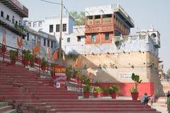 Anlagen auf Treppe in Varanasi Ghats Stockfoto