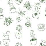 Anlagen saftig, Kaktushandgezogenes nahtloses Muster vektor abbildung