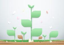 Anlagen wachsen auf dem Boden mit Schmetterlingen heran Viele mehr Ökologiebilder in meinem Portefeuille Stockfoto