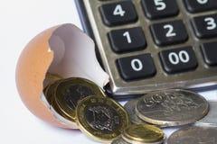 Anlagengeschäft-Berechnungsgeschäfts-Finanzplanungs-Firmenneugründung veranschaulicht mit Eierschale, Taschenrechner und Münzen Lizenzfreies Stockfoto