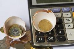 Anlagengeschäft-Berechnungsgeschäfts-Finanzplanungs-Firmenneugründung veranschaulicht mit Eierschale, Taschenrechner und Münzen Stockbild