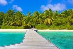 Anlegestelle, Strand und Dschungel stockfotografie