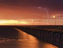 Anlegestellen-Sonnenuntergang-Blitz SA Ceduna Lizenzfreie Stockfotos