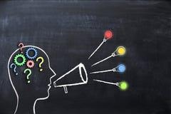 """Anleitung Konzept †""""Wissen und Ideen, die mit Form des menschlichen Kopfes und Megaphon oder Megaphon auf Tafel teilen stockfotos"""