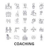 Anleitung, Sporttrainer, Mentor, Trainerbus, Lebenzug, Training, Trainer, Pfeifenlinie Ikonen Editable Anschläge flach vektor abbildung