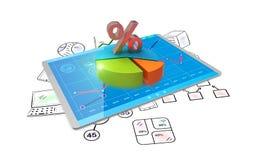 análise da rendição 3D dos dados financeiros nas cartas - vista geral gráfica moderna das estatísticas Imagem de Stock Royalty Free