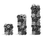 Análise estatística com sistemas mecânicos rendição 3d Fotos de Stock