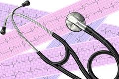 Análisis del corazón, gráfico del electrocardiograma (ECG) y estetoscopio Imagen de archivo libre de regalías