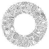 Anmärker den knapphändiga drog uppsättningen för vektorn handen av tecknad filmklottret för det nya året royaltyfri illustrationer