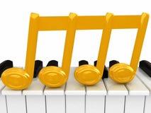anmärkning 3d och piano Arkivfoton