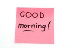 Anmärkning för bra morgon Arkivfoton