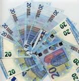 anmärkning för euro 20, bakgrund för europeisk union Arkivfoto