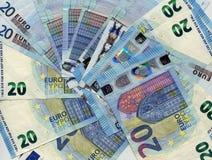 anmärkning för euro 20, bakgrund för europeisk union Fotografering för Bildbyråer