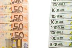 anmärkning för euro 100 och för euro 50 Fotografering för Bildbyråer