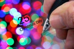 anmärkning för kalenderjuldag Arkivbilder
