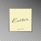 Anmärkning för kontorsgulingstolpe med den lyckliga påsken och datumet 16th för text april Pappers- arkklistermärke med skugga Royaltyfri Fotografi