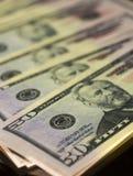 Anmärkning för pappers- pengar 50 dollar USA Arkivfoton