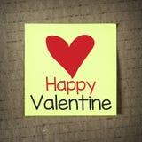 Anmärkning med den lyckliga valentin Arkivfoton