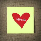 Anmärkning med 14 februari Fotografering för Bildbyråer