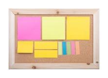 Anmärkning på corkboard Arkivbilder