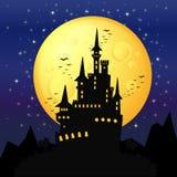 anmärkningar för bakgrundsslagträhalloween månsken Royaltyfri Bild