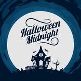anmärkningar för bakgrundsslagträhalloween månsken Fotografering för Bildbyråer