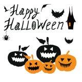 anmärkningar för bakgrundsslagträhalloween månsken Lyckligt allhelgonaaftonkort med spöklika läskiga sned pumpor vektor illustrationer
