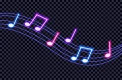 Anmärkningar för musik för vektorneon ultravioletta färgrika på mörk bakgrundsillustration stock illustrationer