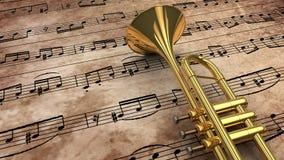 Anmärkningar och trumpet Arkivbilder