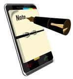 Anmärkningsapplikation för smart telefon Royaltyfria Foton